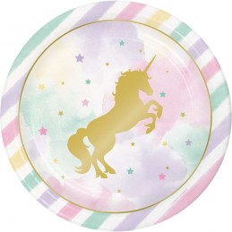 Sparkling Unicorn Large Plates (Pack of 8)