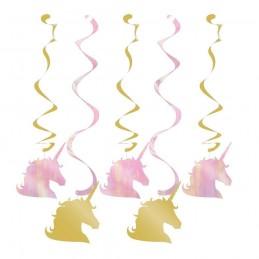 Sparkling Unicorn Swirl Decorations (Set of 5)