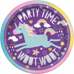 Rainbow Unicorn Small Plates (Pack of 8)