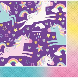 Rainbow Unicorn Small Napkins (Pack of 16)