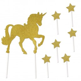 Gold Unicorn & Stars Cake Topper Set