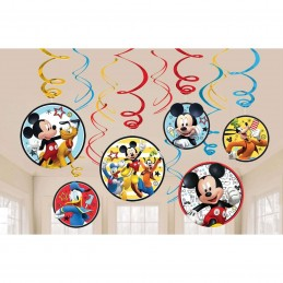 Mickey Mouse Swirl Decorations (Pack of 12)