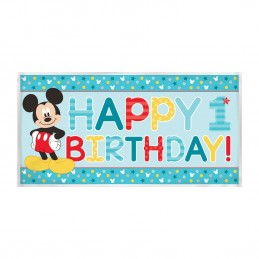 Mickey Mouse 1st Birthday Plastic Banner