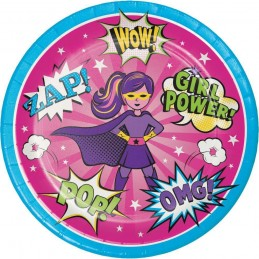Super Hero Girl Large Plates (Pack of 8)