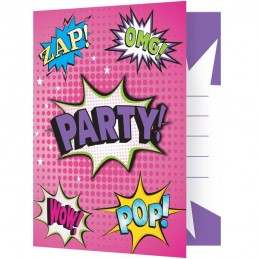 Super Hero Girl Party Invitations (Pack of 8)