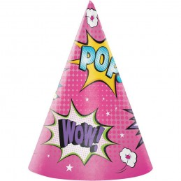 Super Hero Girl Party Hats (Pack of 8)