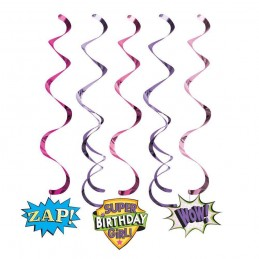Super Hero Girl Swirl Decorations (Pack of 5)