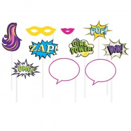 Super Hero Girl Photo Booth Props (Pack of 10)