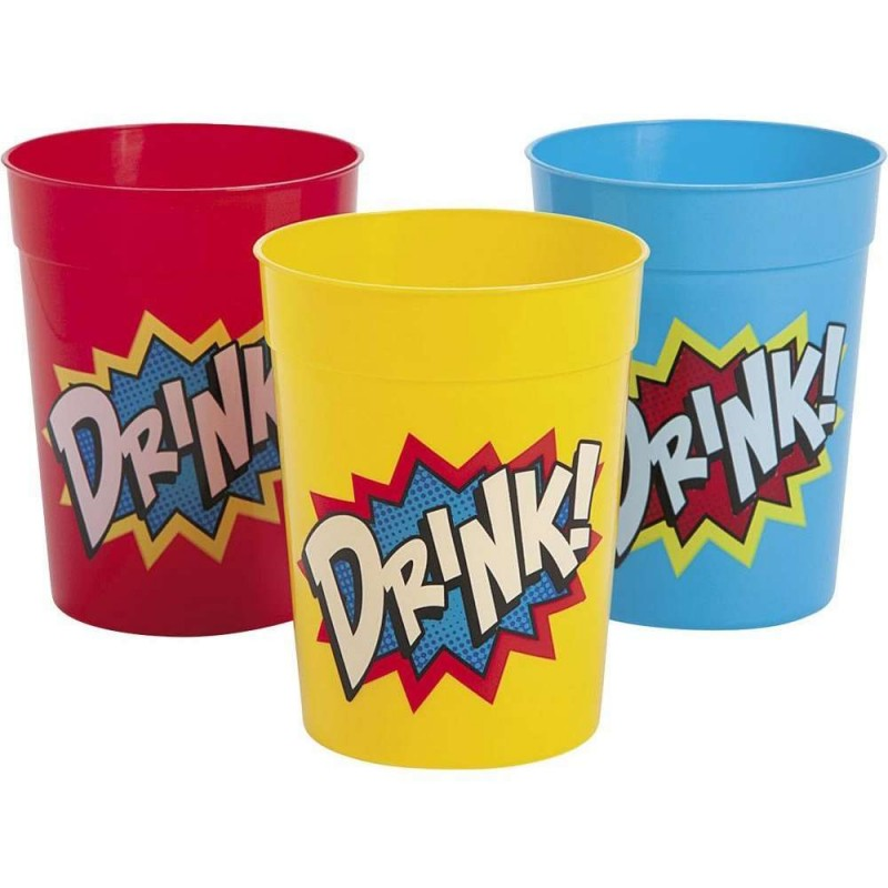 Superhero Plastic Tumbler Cups (Set of 12)