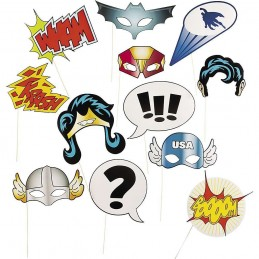 Superhero Photo Booth Props (Set of 12)