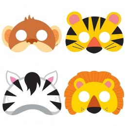 Animal Jungle Paper Masks (Pack of 8) | Jungle Animals Party Supplies