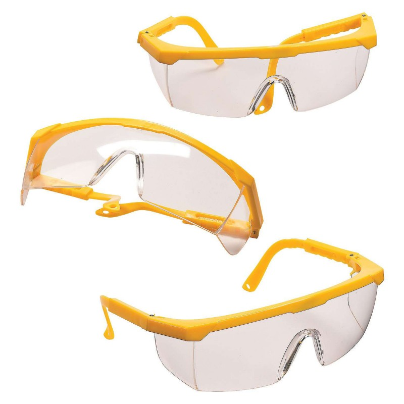 Construction Yellow Plastic Glasses (Pack of 12)