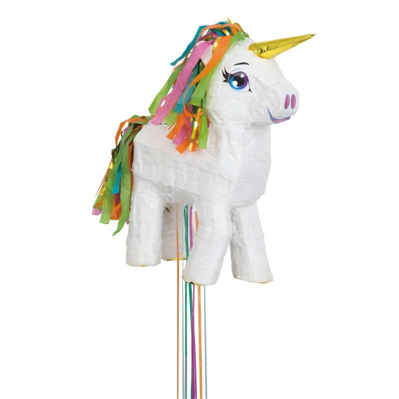 White Unicorn 3D Pull String Pinata