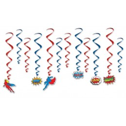 Superhero Swirl Decorations (Set of 12)