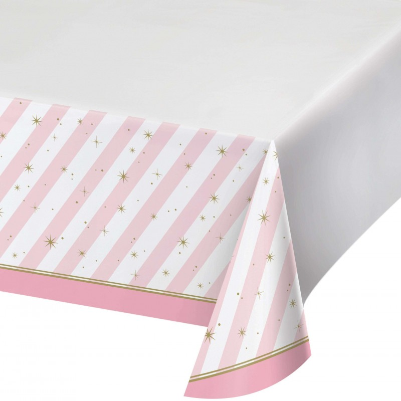 Ballerina Pink Striped Plastic Tablecloth