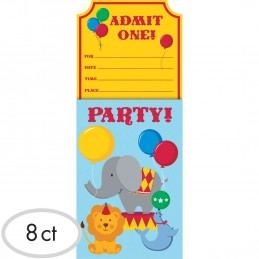 Circus Time Party Invitations (Pack of 8)
