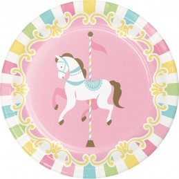 Pink Carousel Horses Small Plates (Pack of 8)