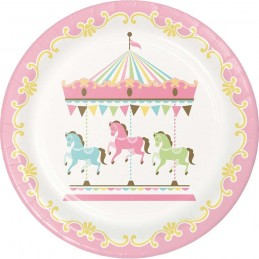Pink Carousel Horses Large Plates (Pack of 8)