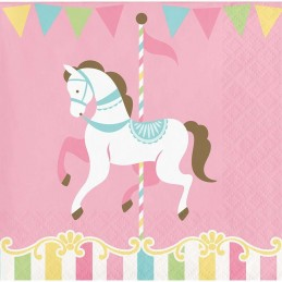 Pink Carousel Horses Small Napkins (Pack of 16)