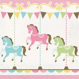 Pink Carousel Horses Large Napkins (Pack of 16)
