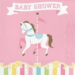 Pink Carousel Horses Baby Shower Large Napkins (Pack of 16)