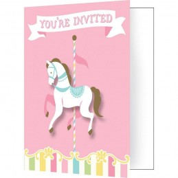 Pink Carousel Horses Party Invitations (Pack of 8)