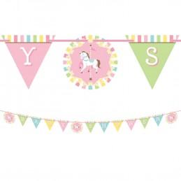 Pink Carousel Horses Baby Shower Ribbon Banner