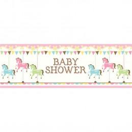 Pink Carousel Horses Baby Shower Giant Banner