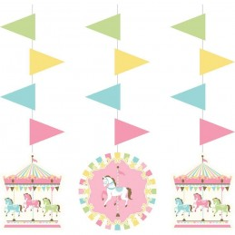 Pink Carousel Horses Hanging Decorations (Set of 3)