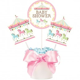 Pink Carousel Horses Centrepiece Sticks (Set of 3)