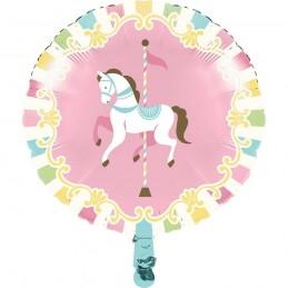 Pink Carousel Horses Foil Balloon