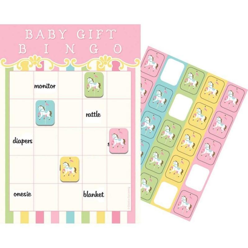 Pink Carousel Horses Baby Shower Bingo Game