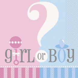 Gender Reveal Baby Shower Large Napkins (Pack of 20)