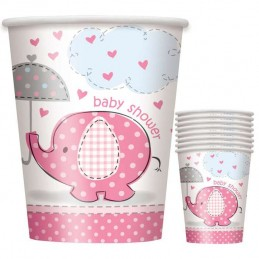 Pink Baby Elephant Paper Cups (Pack of 8)