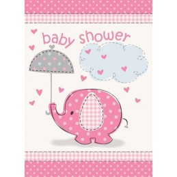Pink Baby Elephant Baby Shower Party Invitations (Pack of 8)