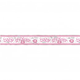 Pink Baby Elephant Baby Shower Foil Banner
