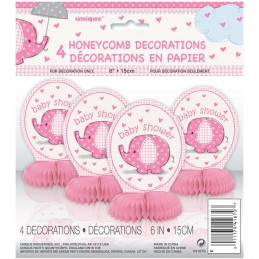 Pink Baby Elephant Mini Honeycomb Centrepieces (Pack of 4)