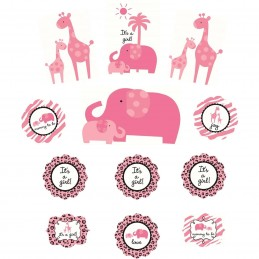 Sweet Safari Pink Baby Shower Wall Decorations (Set of 12)