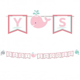 Pink Baby Whale Baby Shower Pennant Banner