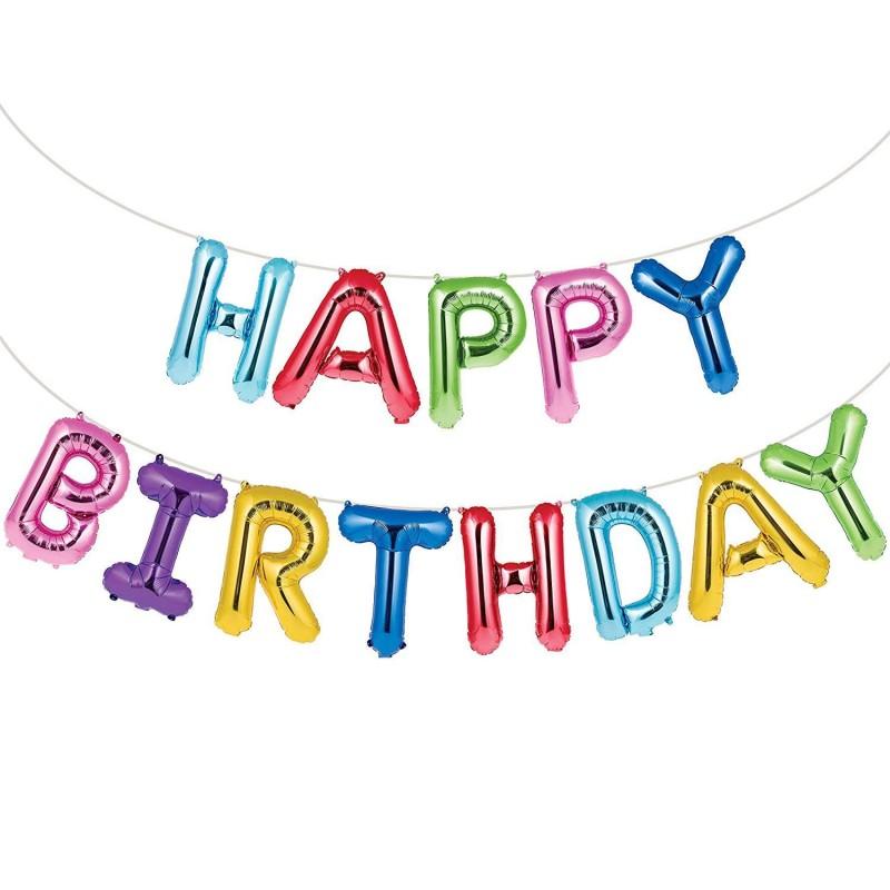 Rainbow Happy Birthday Foil Letter Balloon Banner