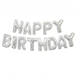Silver Happy Birthday Foil Letter Balloon Banner