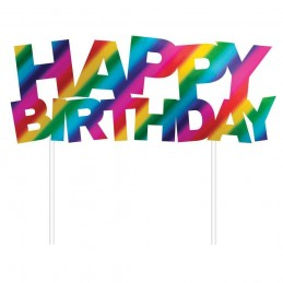 Rainbow Happy Birthday Foil Cake Topper