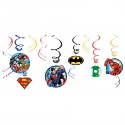 Justice League Swirl Decorations (Set of 12) | Justice League Party Supplies