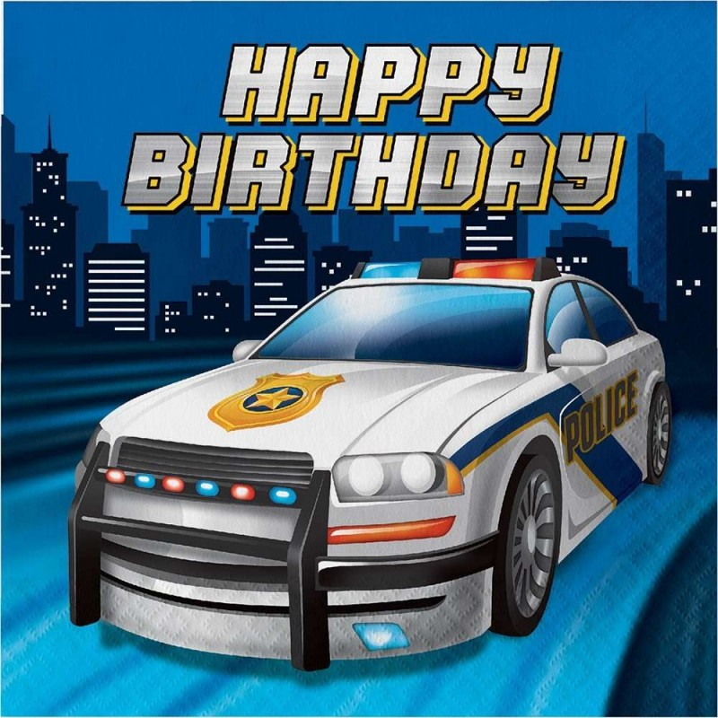 Police Party Happy Birthday Large Napkins (Pack of 16)