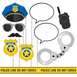 Police Party Photo Booth Props (Set of 10)
