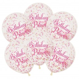 Pink Princess Confetti Latex Balloons (Pack of 6)