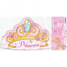 Pink Princess Paper Tiara Crowns (Pack of 6)
