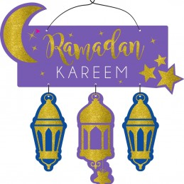Glitter Ramadan Kareem Front Door Sign