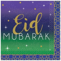 Eid Mubarak Small Paper Napkins (Pack of 16)