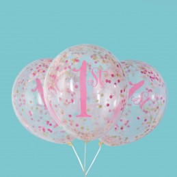 Pink & Gold 1st Birthday Confetti Balloons (Pack of 6)